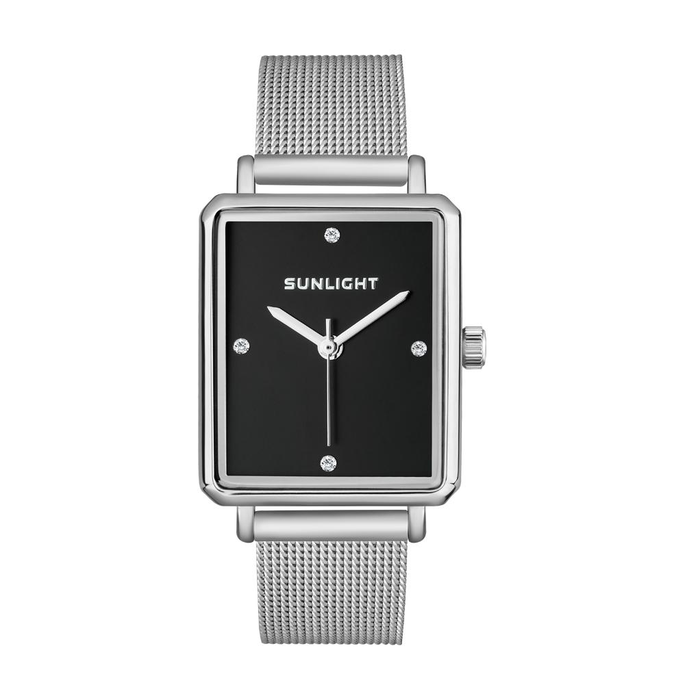 Прямоугольные женские часы на миланском браслете