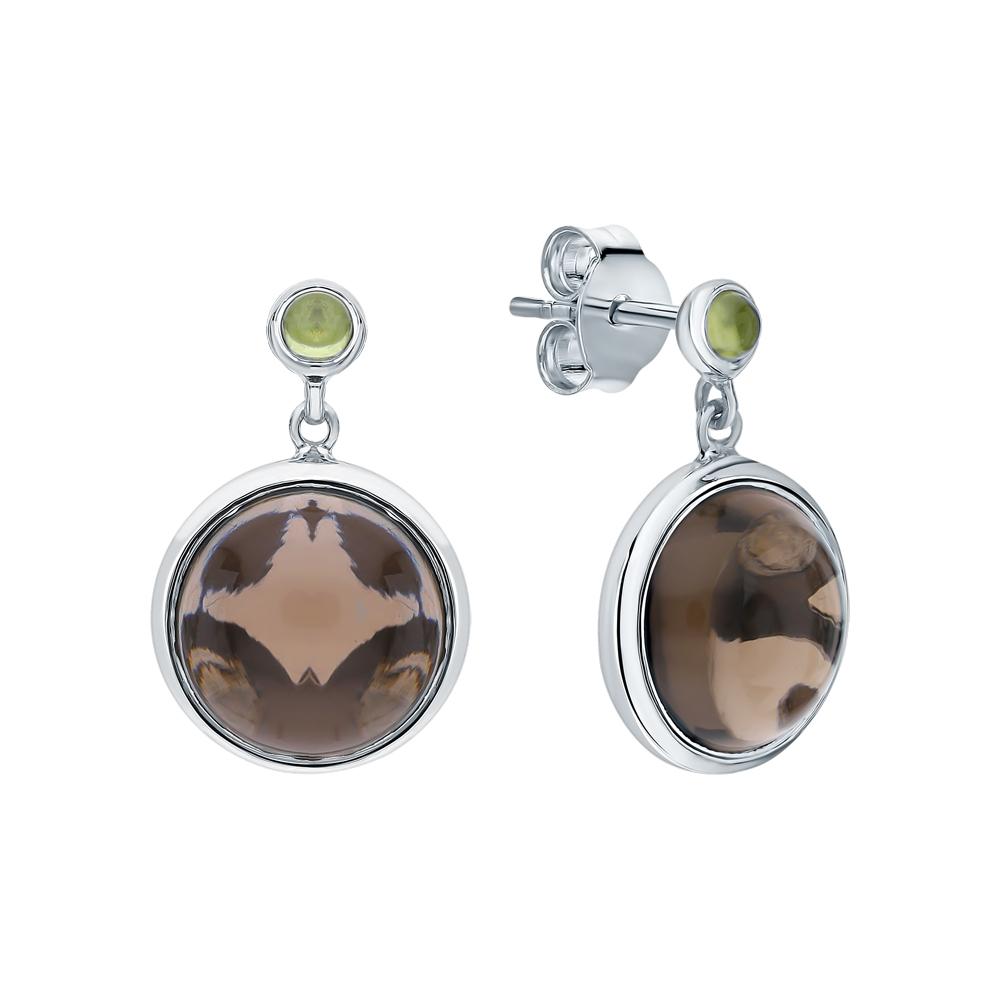 Фото «Серебряные серьги с хризолитом и кварцами дымчатыми»