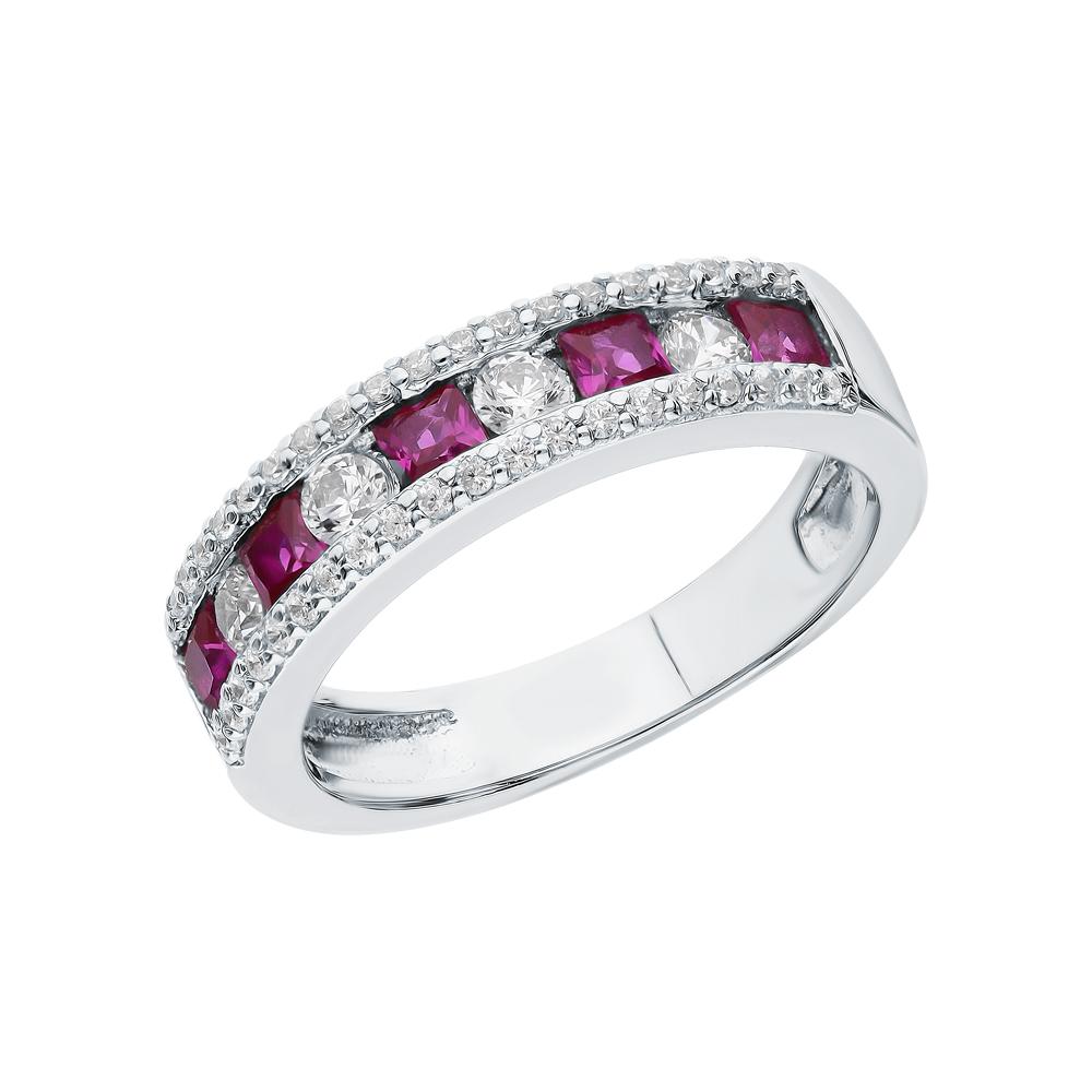 Серебряное кольцо с фианитами и рубинами синтетическими в Екатеринбурге