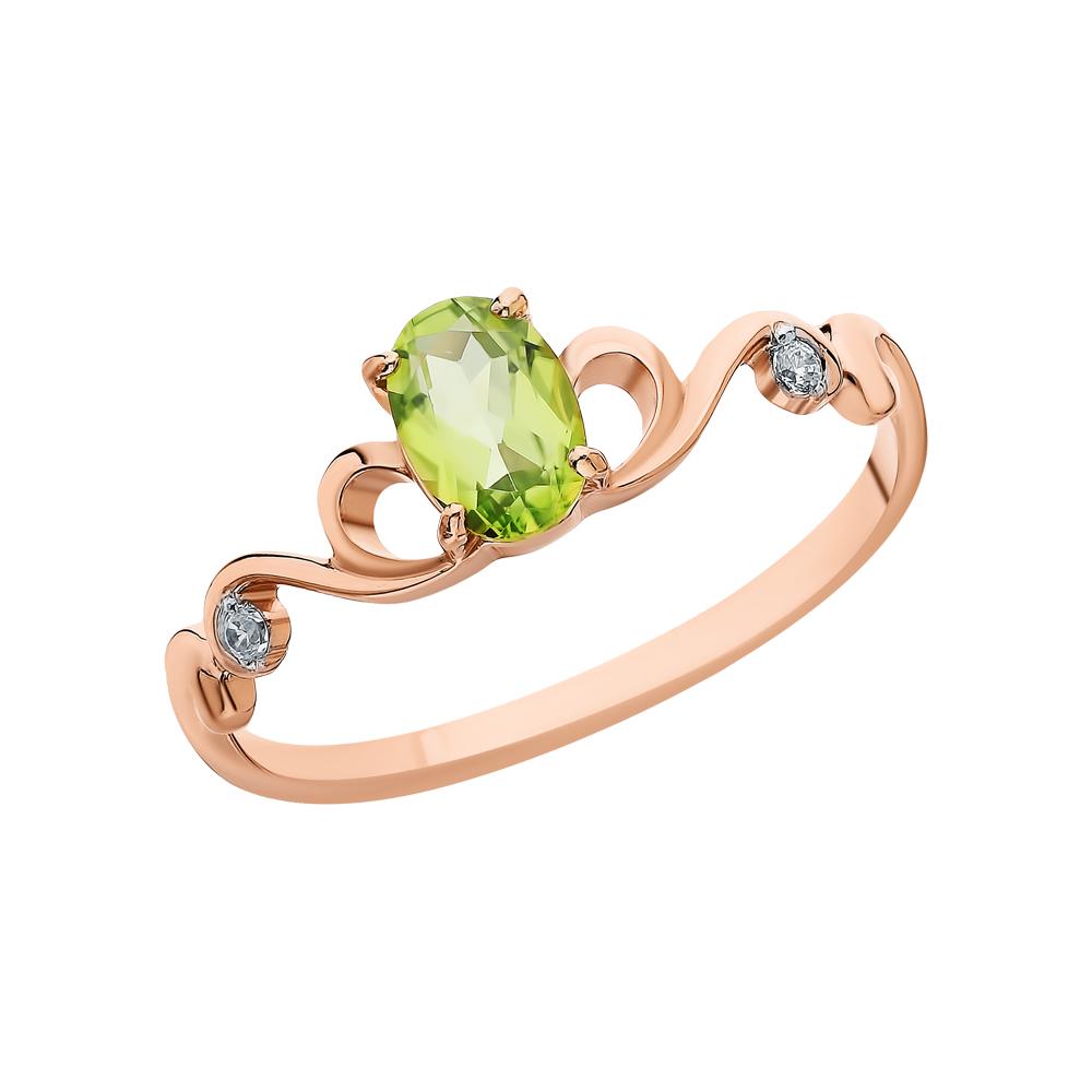 Золотое кольцо с хризолитом и фианитами в Санкт-Петербурге