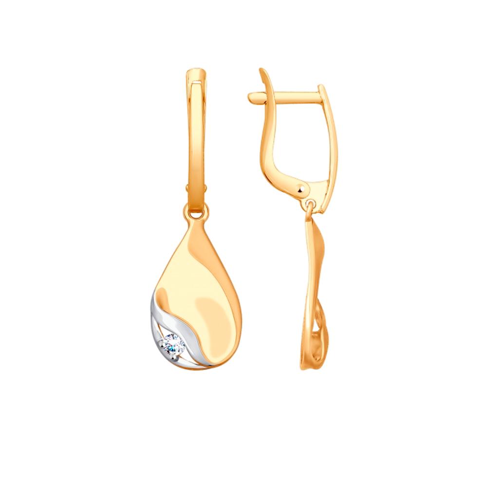 Золотые серьги с фианитами SOKOLOV 027992* в Санкт-Петербурге