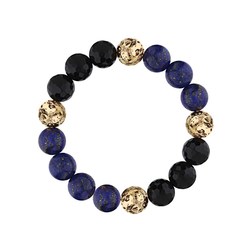 Фото «Серебряный браслет с ониксом, лазуритом и лавовыми камнями»
