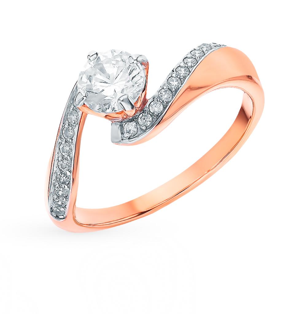 золотое кольцо с фианитами SOKOLOV 018396
