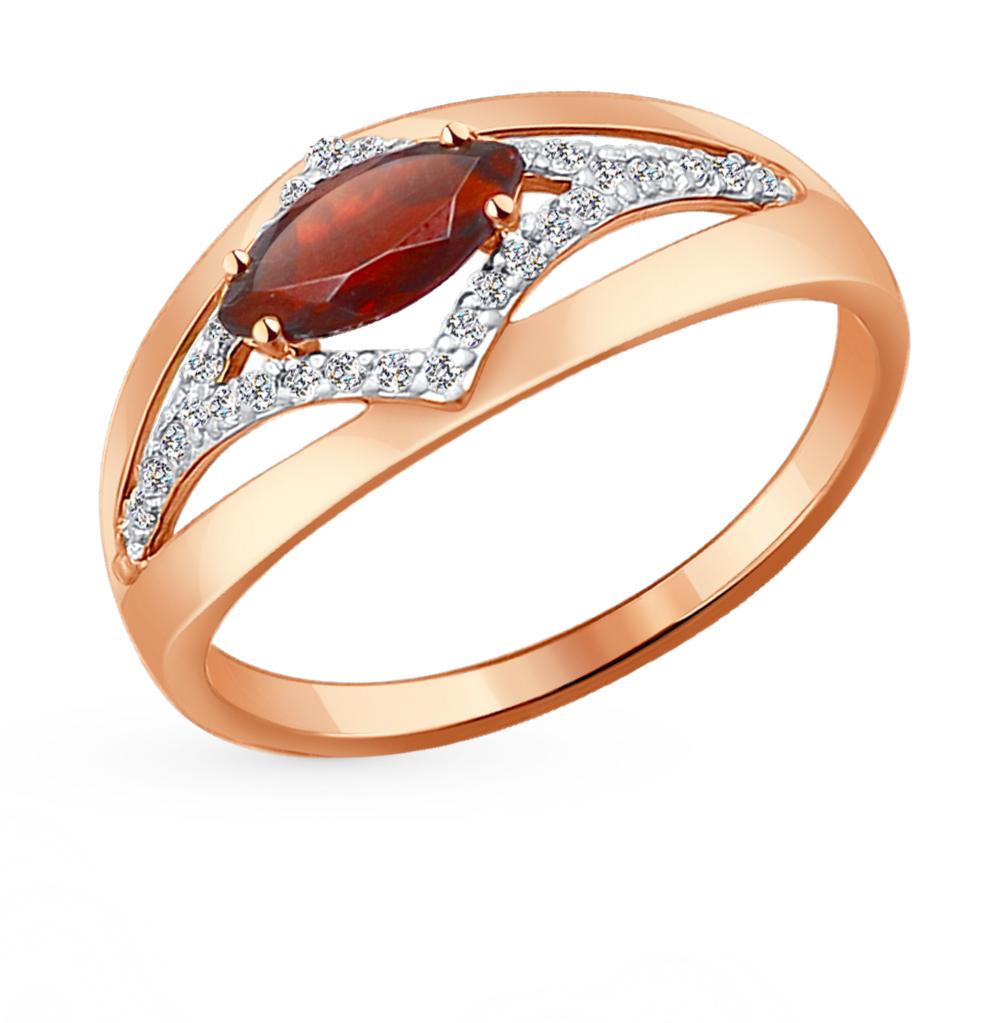 Фото «Золотое кольцо с фианитами и гранатом SOKOLOV 714220*»