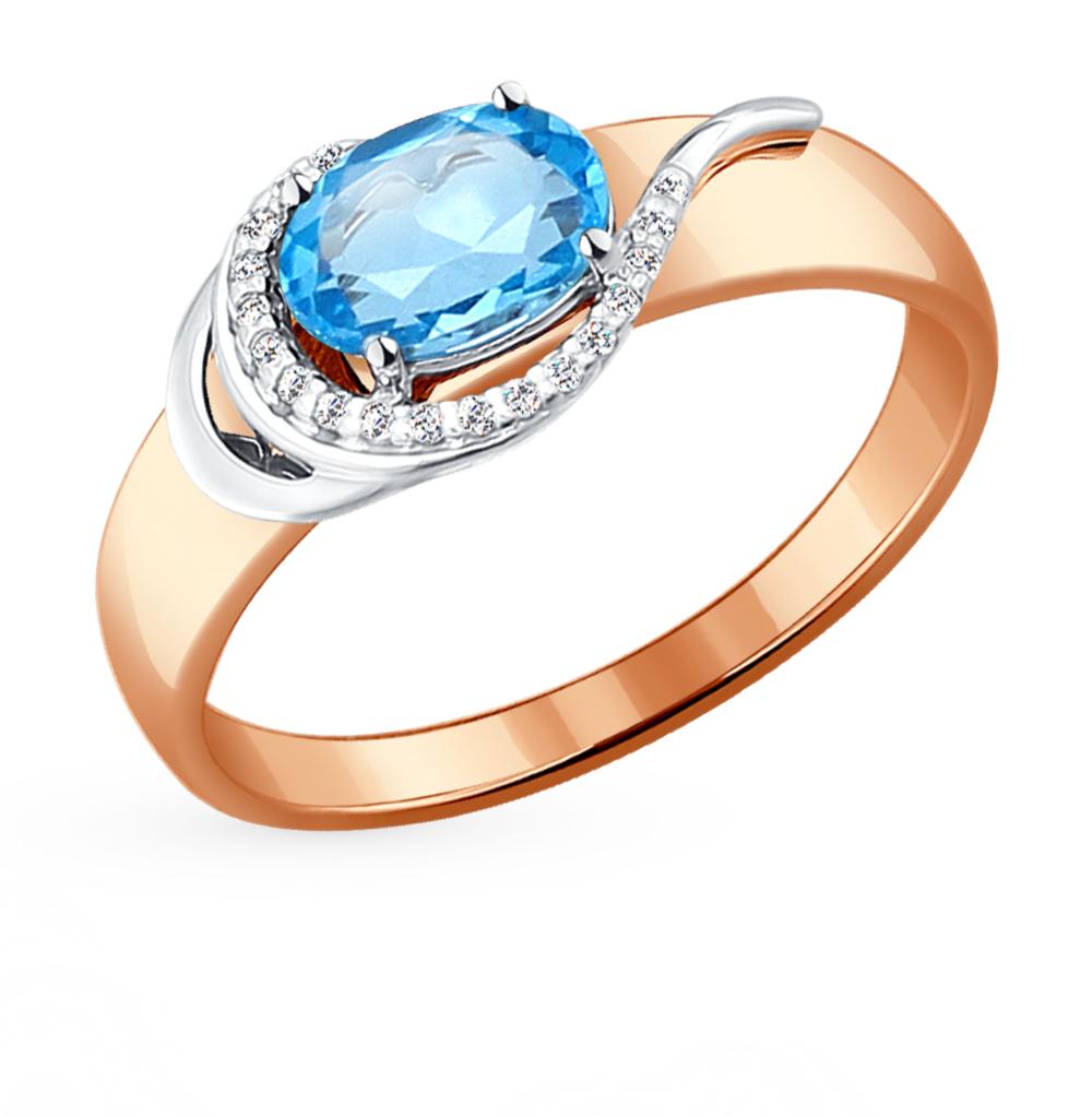 Фото «Золотое кольцо с топазами и фианитами SOKOLOV 714071*»
