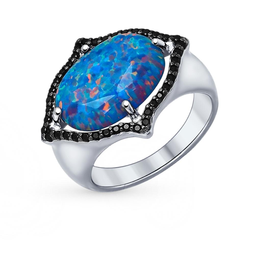 Фото «Серебряное кольцо с фианитами и опалами SOKOLOV 83010004»