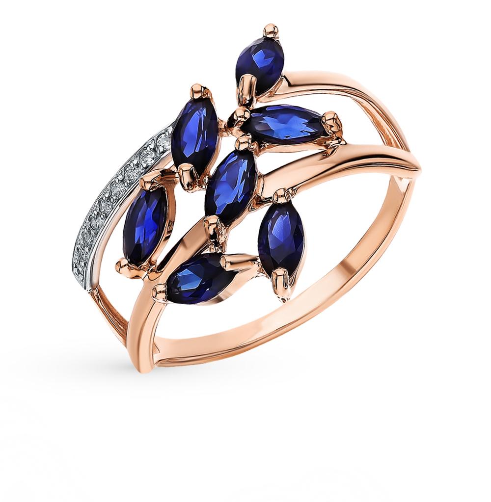 Фото «Золотое кольцо с корундом и фианитами SOKOLOV 715691»