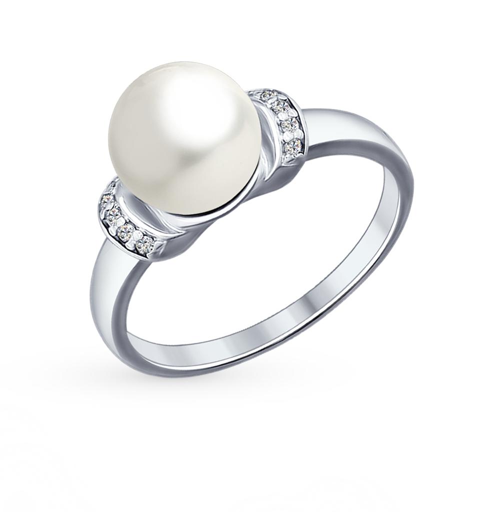 серебряное кольцо с фианитами и жемчугом SOKOLOV 94012031