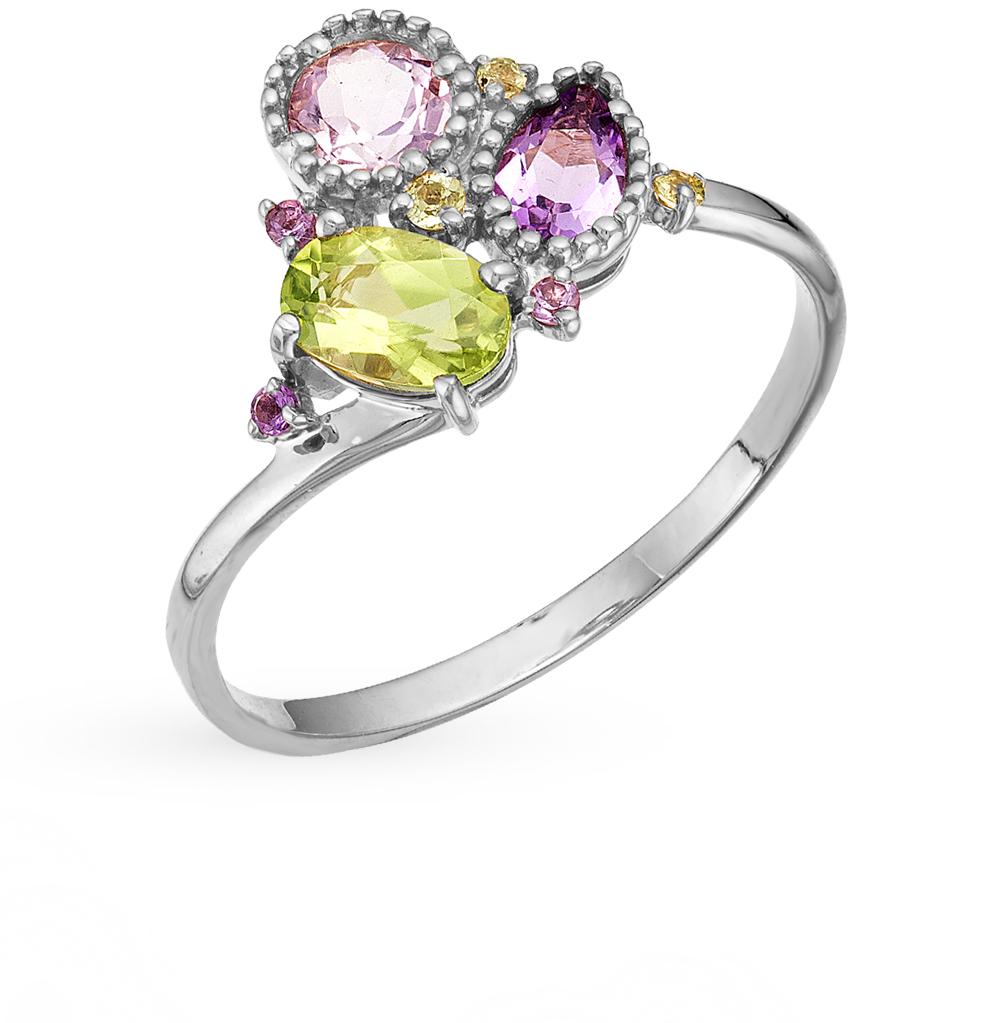 Серебряное кольцо с хризолитом и аметистом в Екатеринбурге