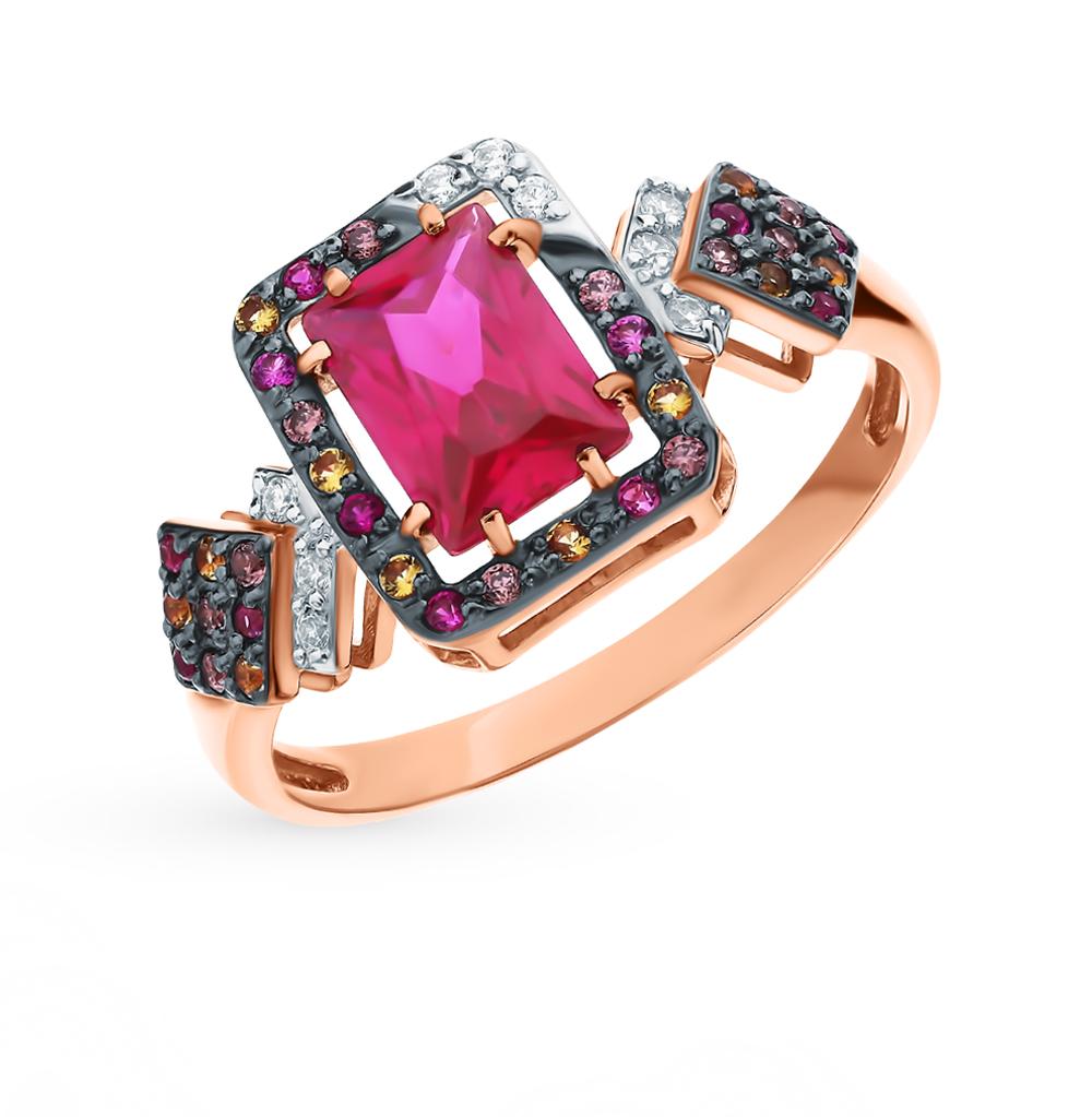 Фото «Золотое кольцо с рубинами, со шпинелью, фианитами и цитринами»