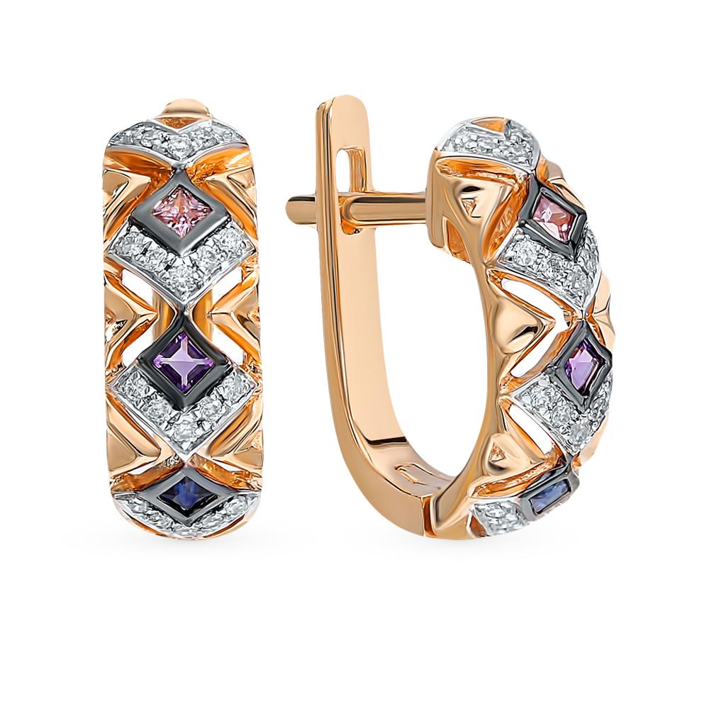Золотые серьги с сапфирами, аметистом и бриллиантами в Екатеринбурге