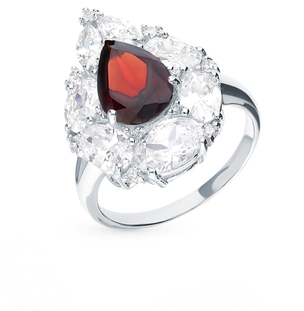 серебряное кольцо с фианитами, гранатом и кубическими циркониями
