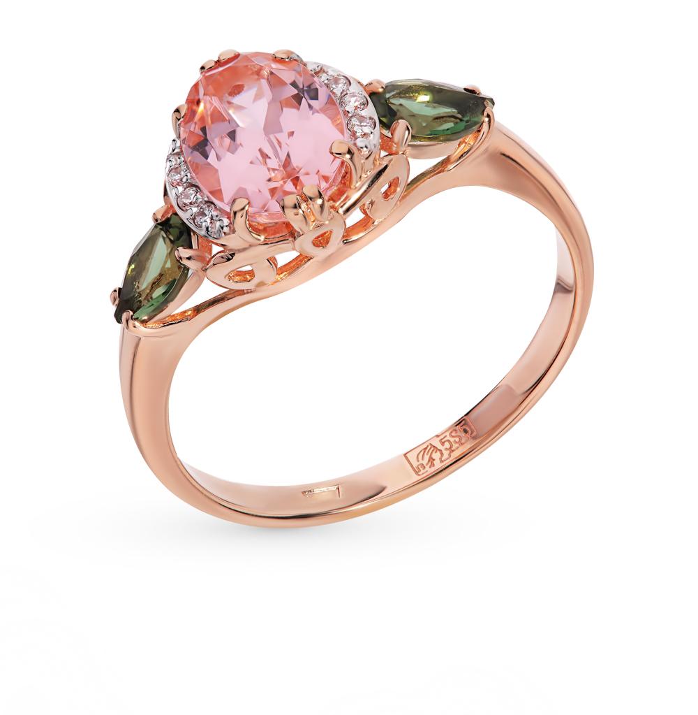 Золотое кольцо с турмалинами, морганитами и фианитами в Санкт-Петербурге