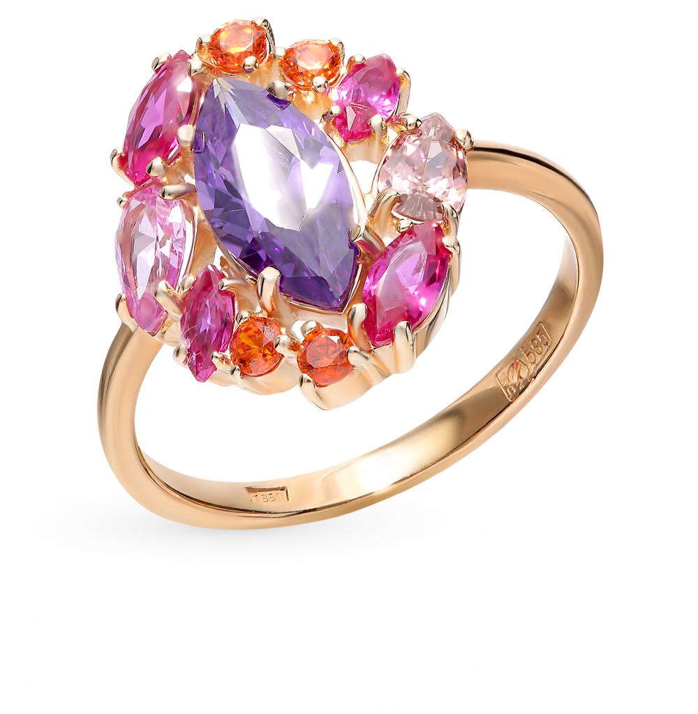 золотое кольцо с аметистом и корундом