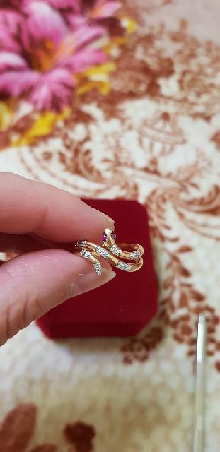 Кольцо змейка с бриллиантами и рубинами