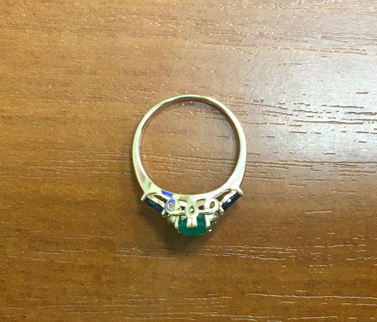 Кольцо с хризопразом и сапфирами💍
