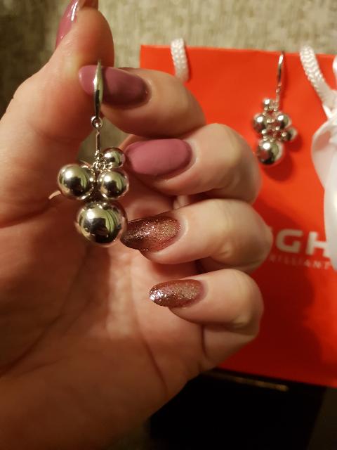 Серьги шарики серебряные