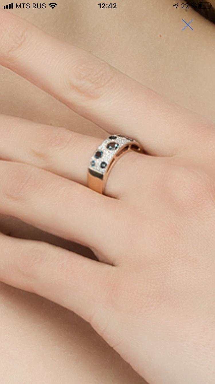 Кольцо с сапфирами и топазами