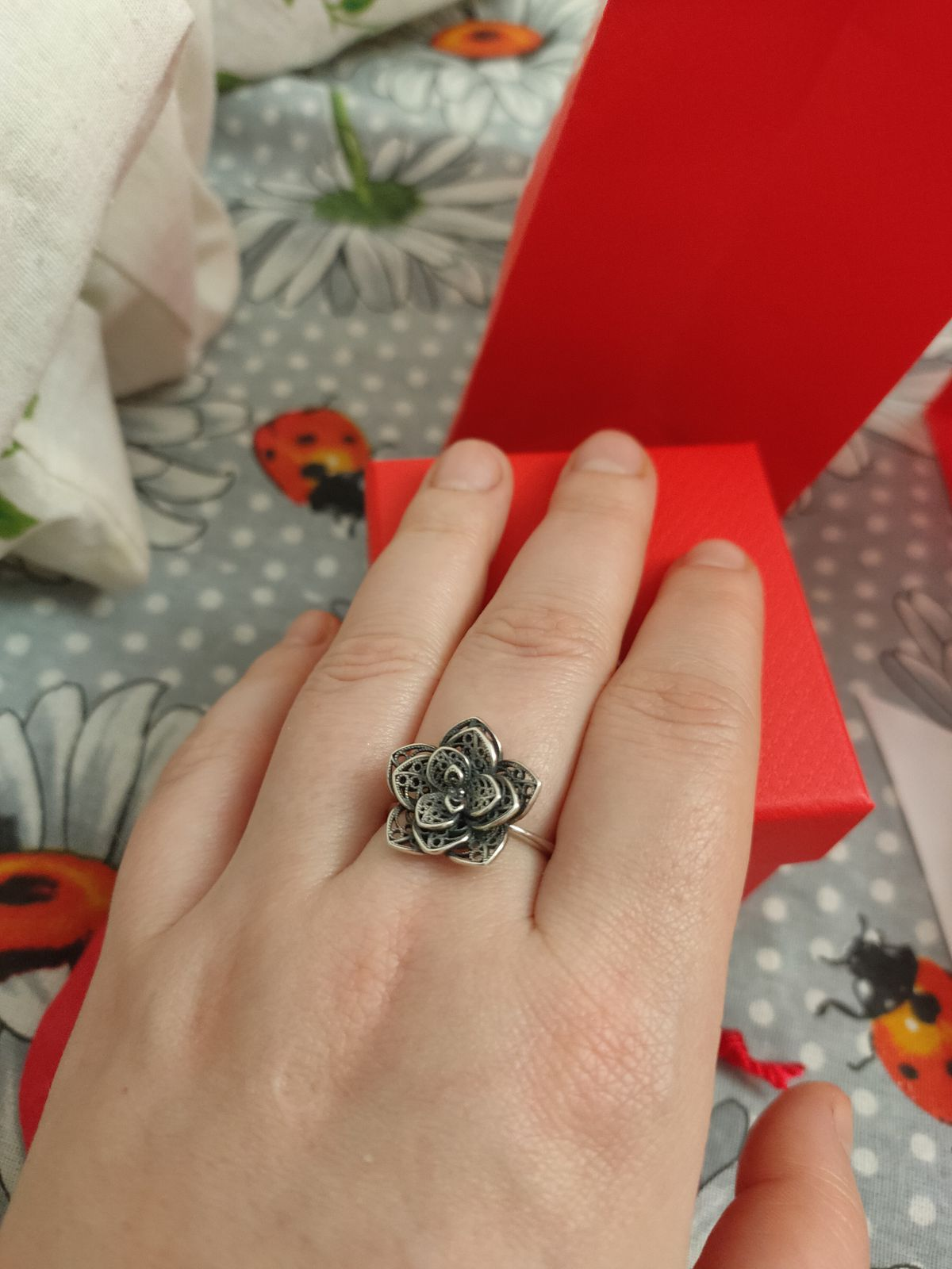 Кольцо в виде цветка