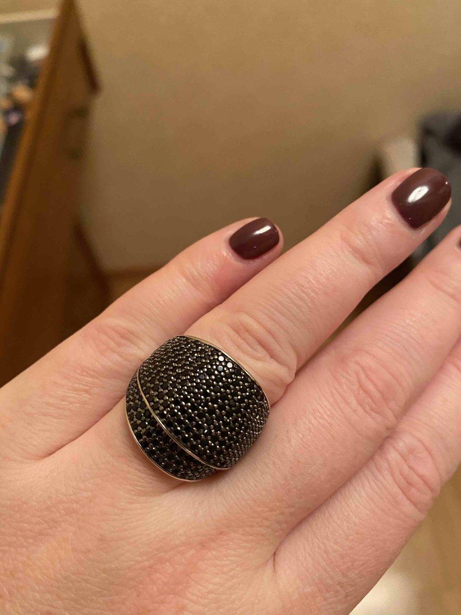 Кольцо с чёрными фианитами