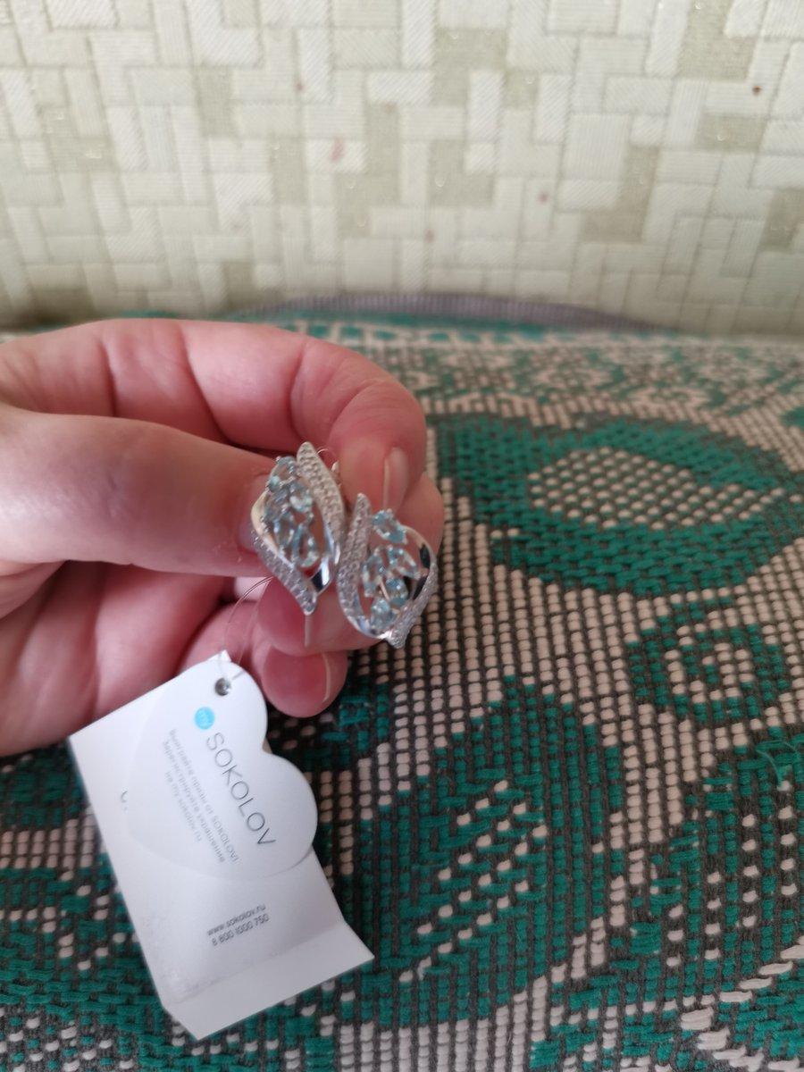 Серебряные серьги с топазом