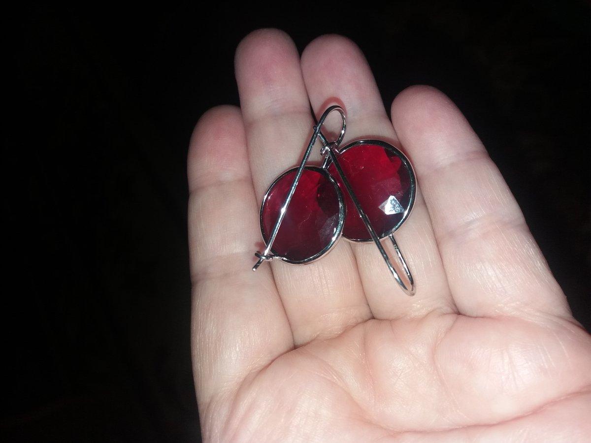 Рубиновые серьги