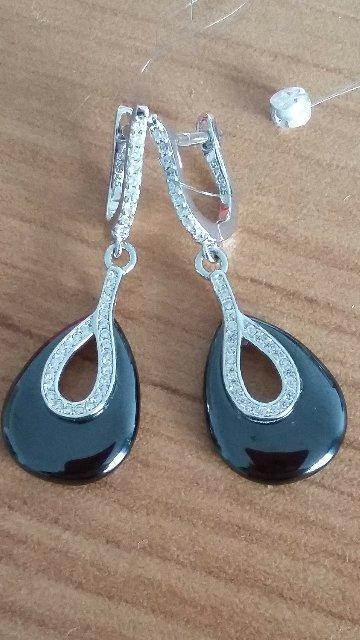 Серебрянные серёжки с керамикой и фианитами.