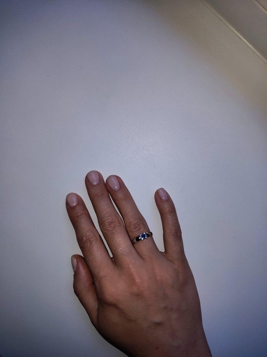 Кольцо с сапфиром, четыре брилианта, с белого золота.