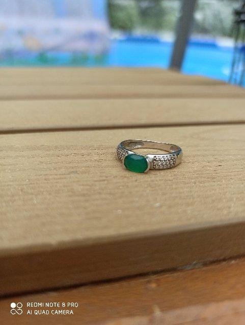 Кольцо с зелёным агатом.