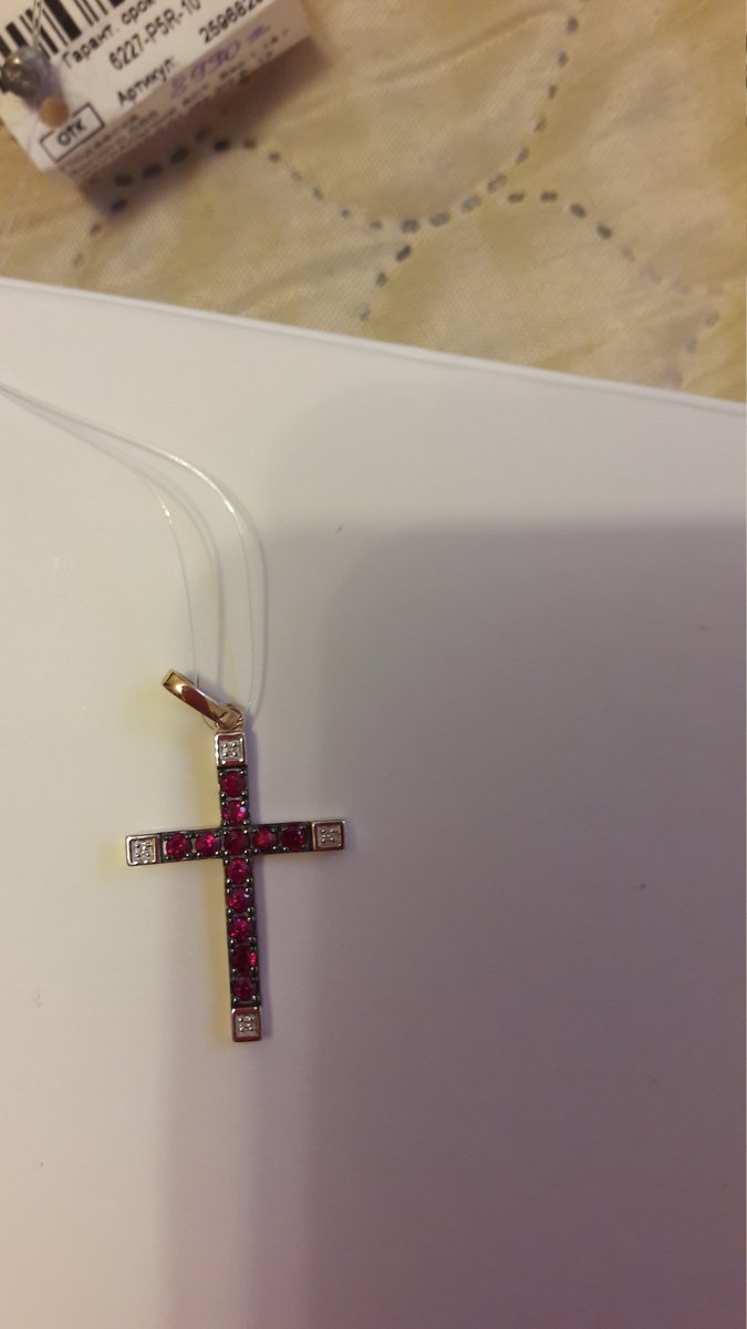Крестик с натур.рубинами