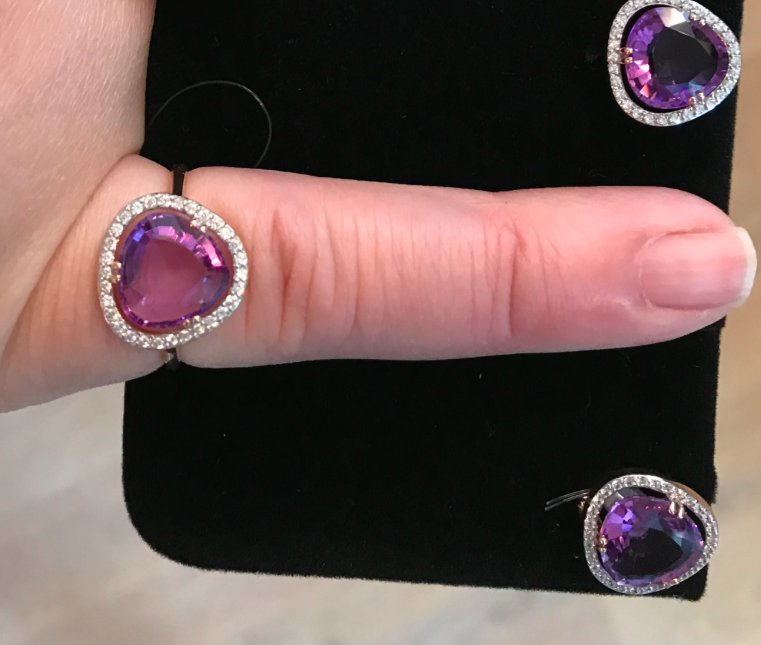 Золотое кольцо размера 16,5  с аметистом