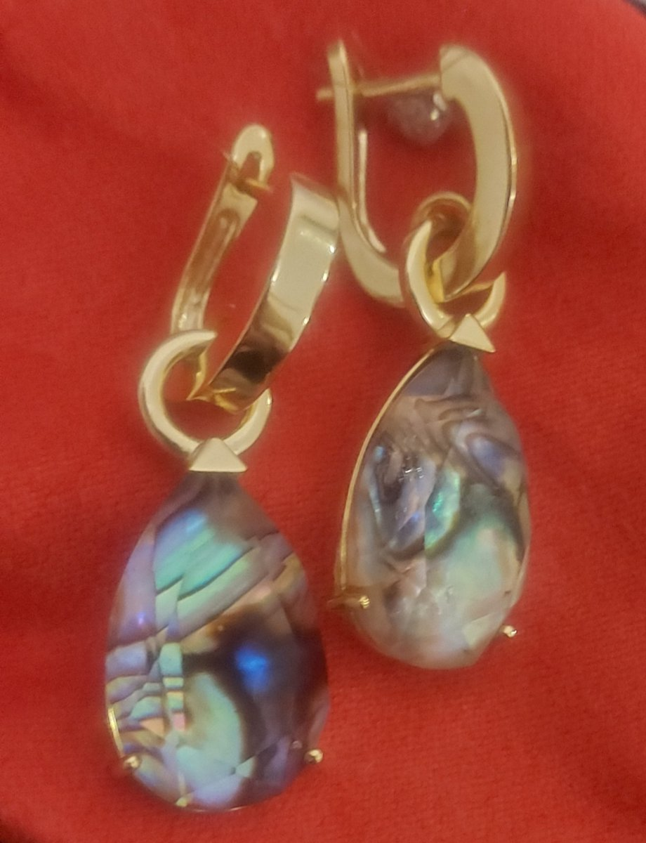 Серебряные серьги с алпанитом и ракушками