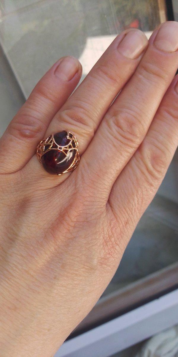 Кольцо серебро с янтарем