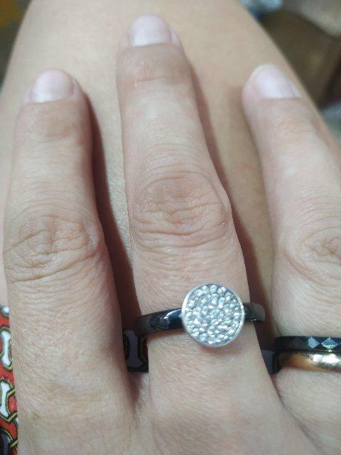 Кольцо керамика вставка серебро