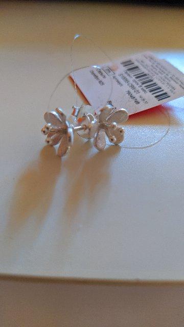 Серьги серебряные цветы.
