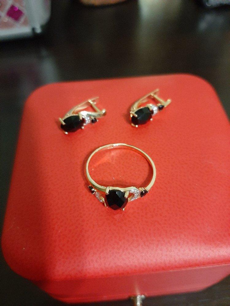 Кольцо с чёрным агатом