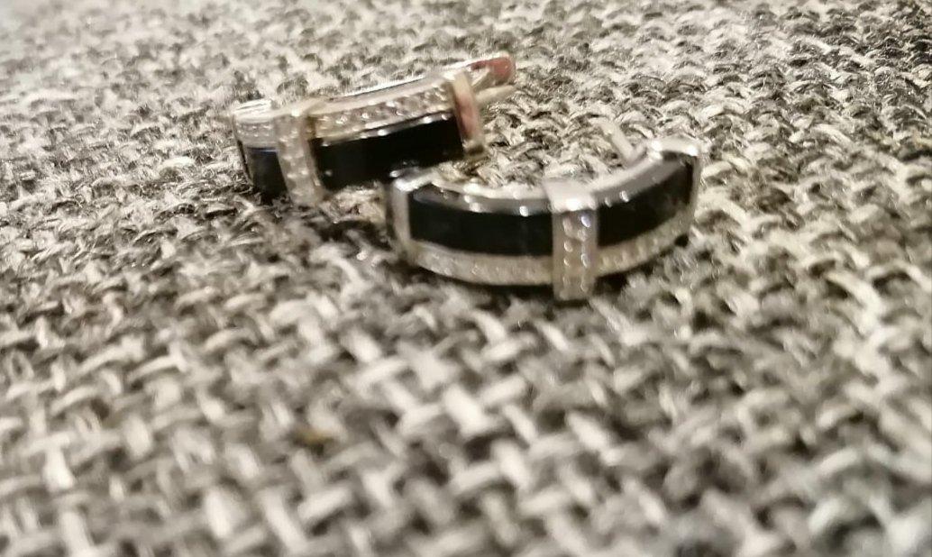 Сережки из серебра и керамики