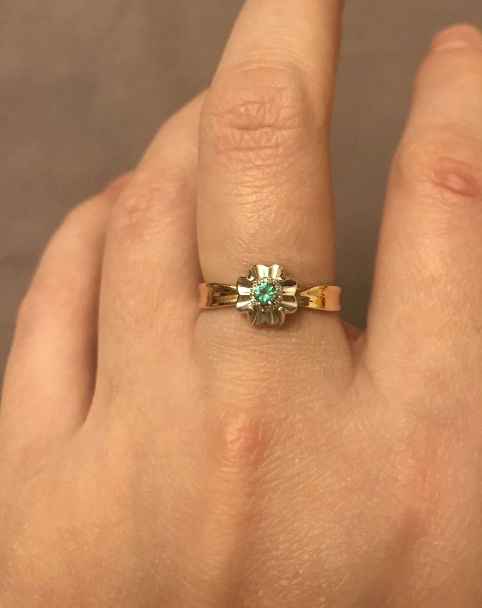Перстень с изумрудом и бриллиантами!