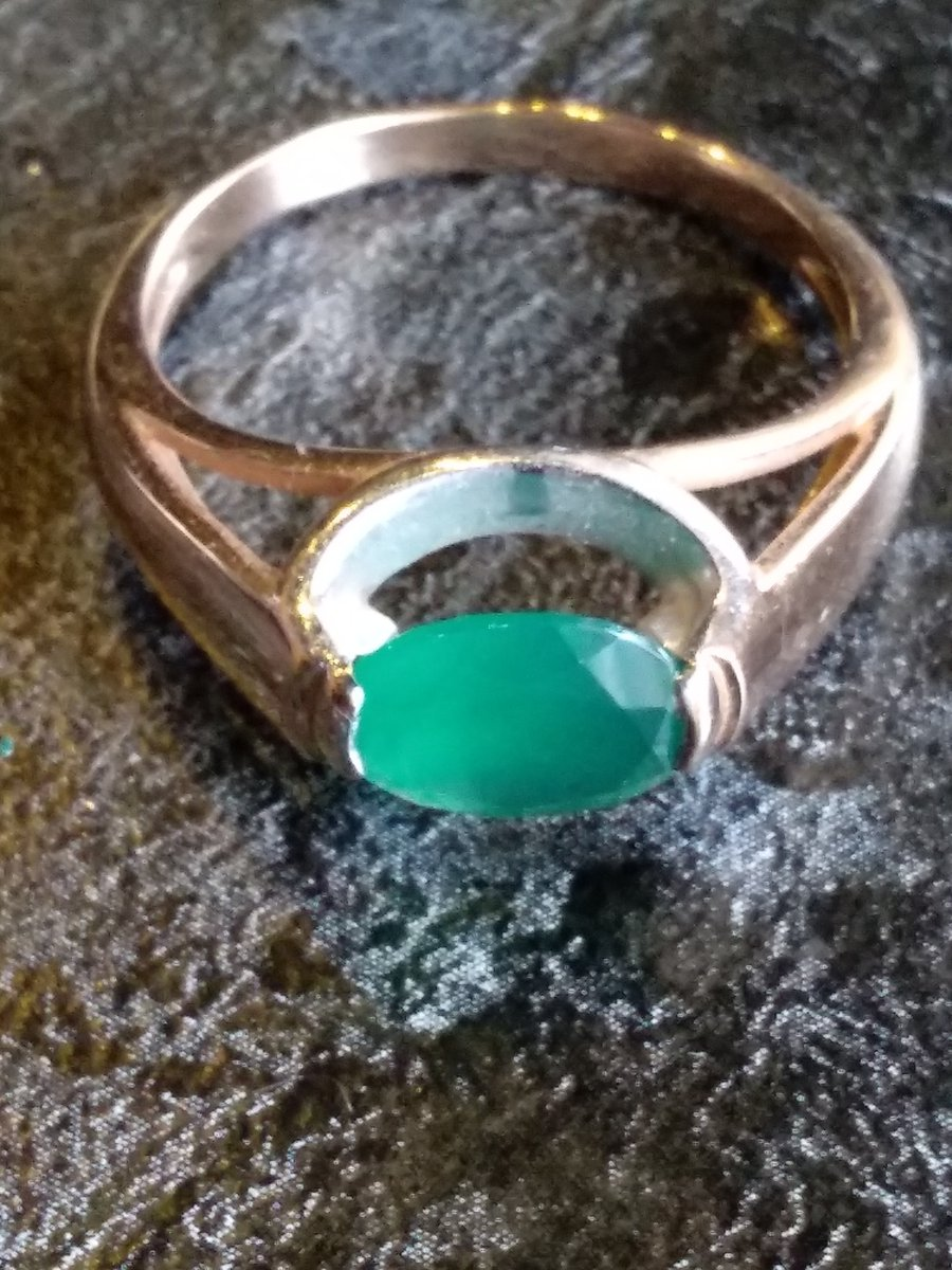 Кольцо с изумрудным агатом