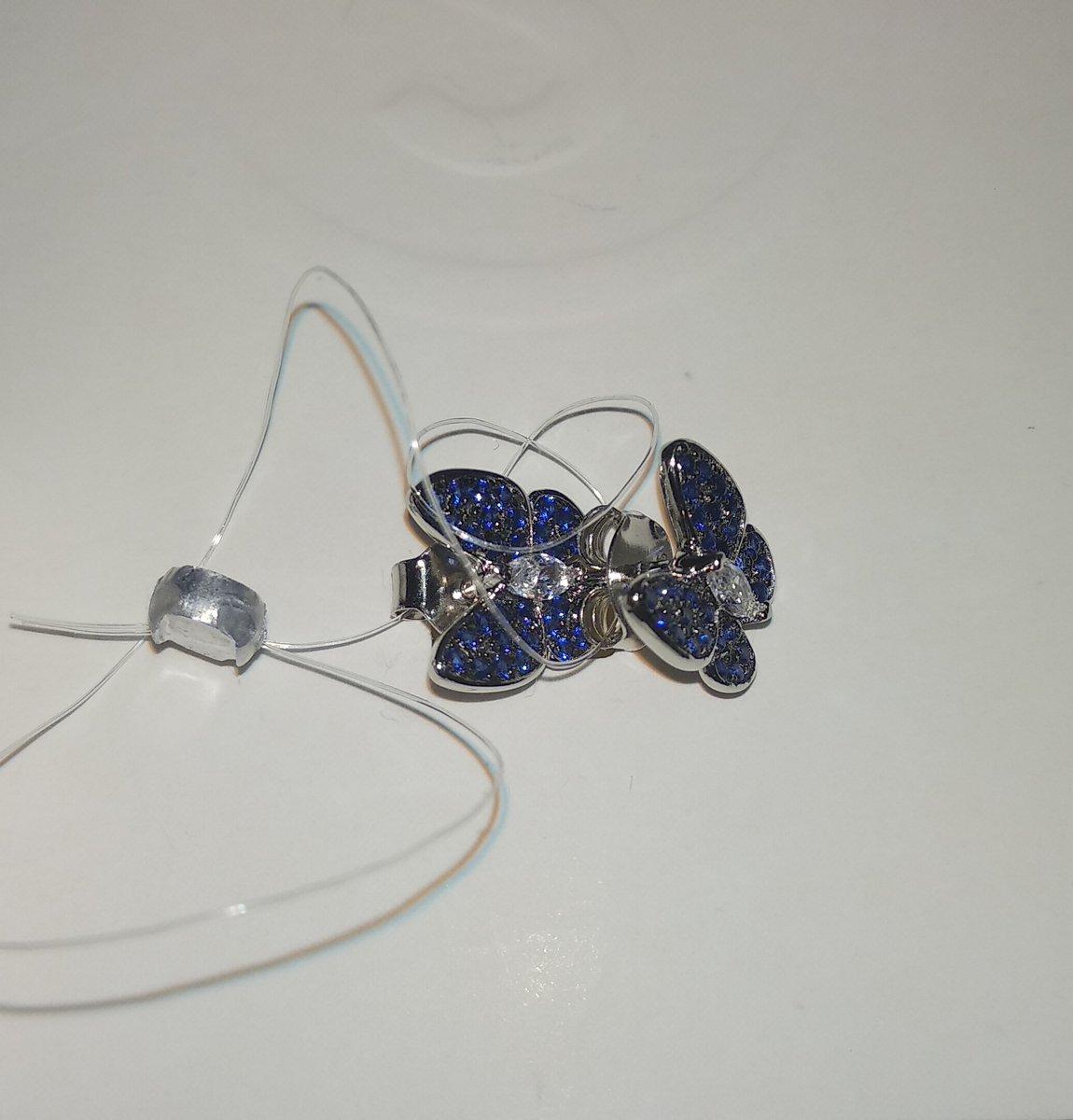 Сережки бабочки со шпинелью и фианитами