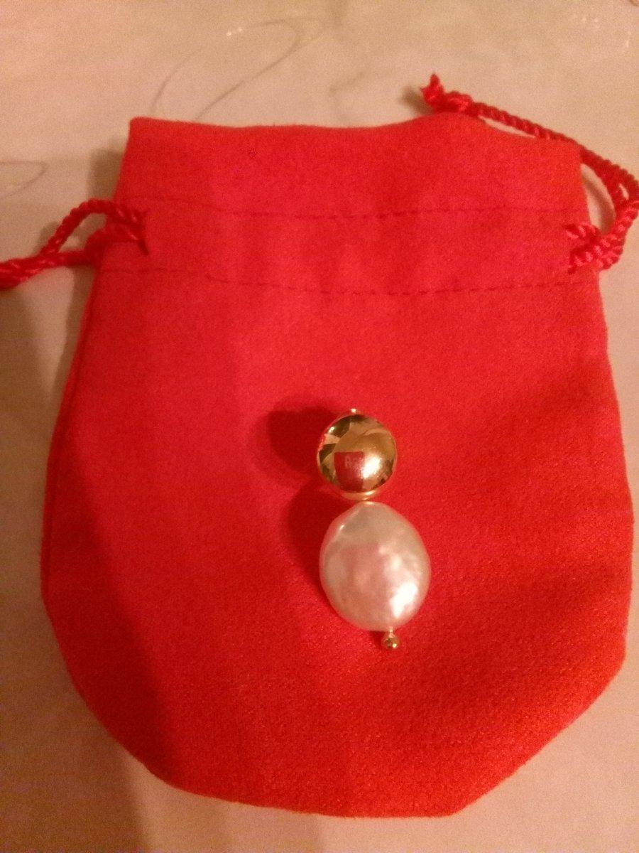 Серебряные серьги с позолотой и жемчугом
