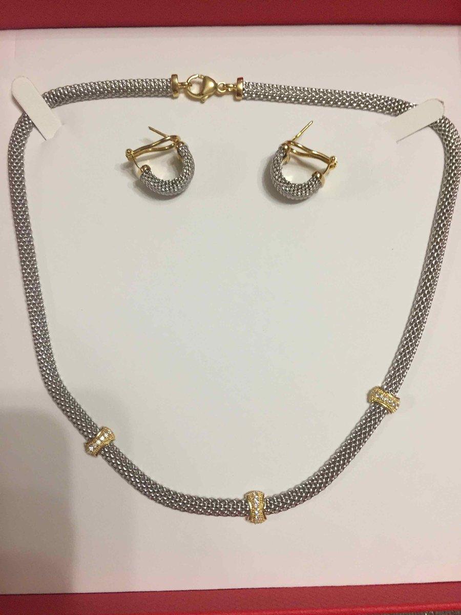Колье и серьги из коллекции серебро италии