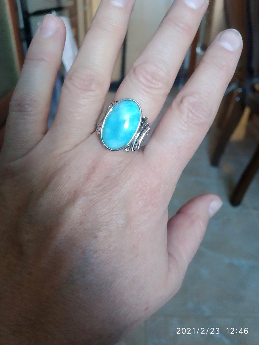 Кольцо с большим ларимаром