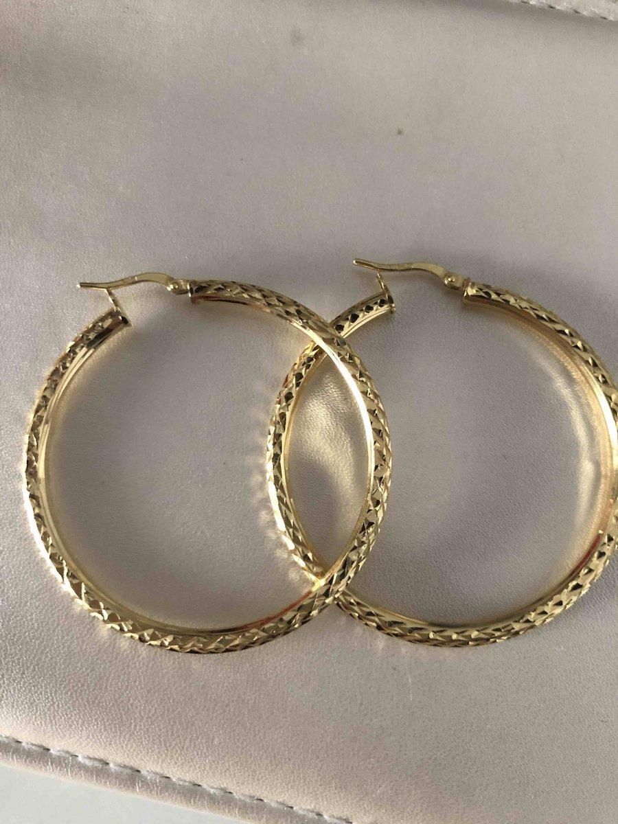 Серьги кольца с алмазной гранью
