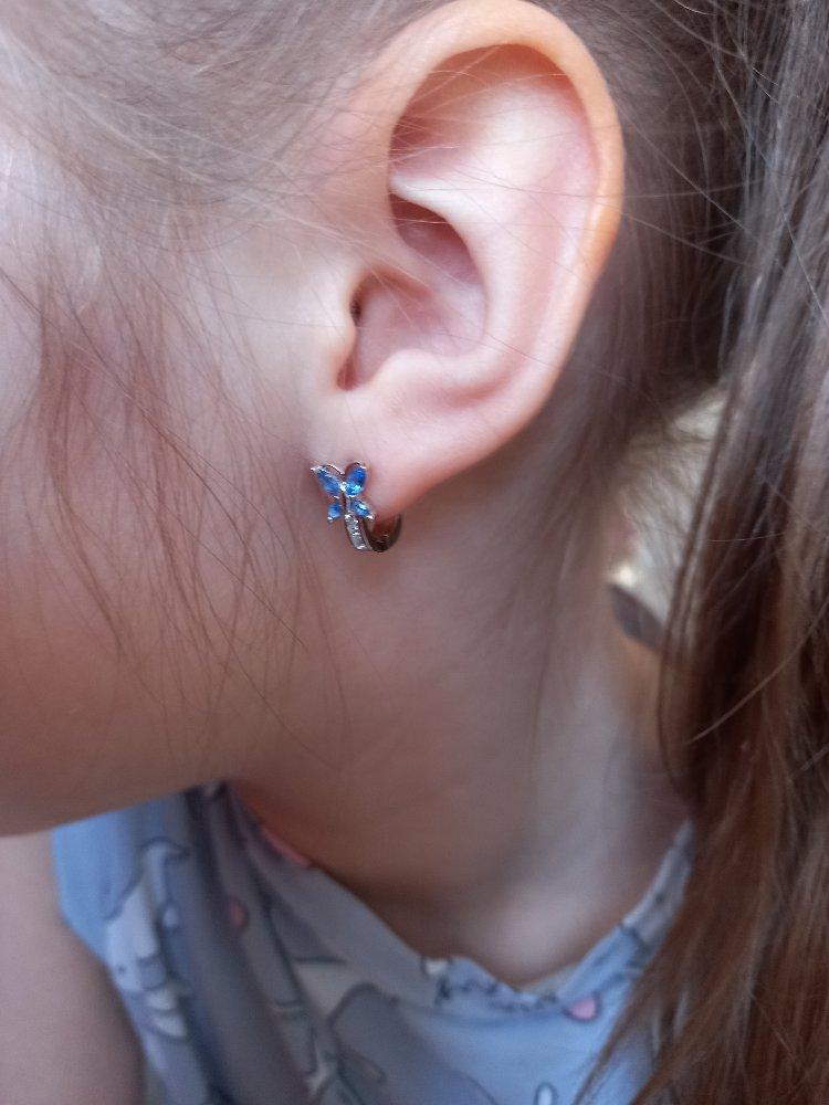 Серебряные серьги с голубыми бабочками
