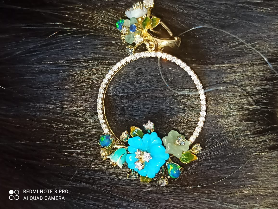 Серьги-кольца с бирюзой