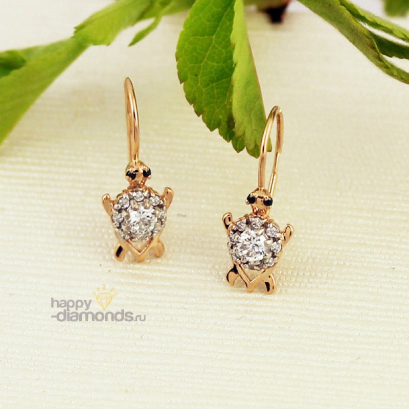 Золотые серьги черепашки