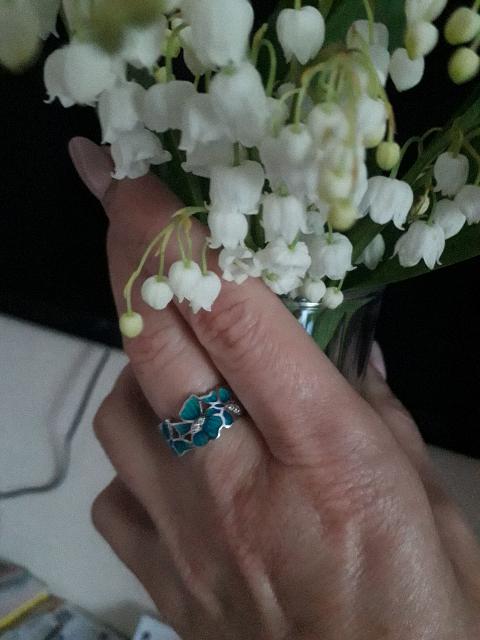 Кольцо серебряное с эмалью
