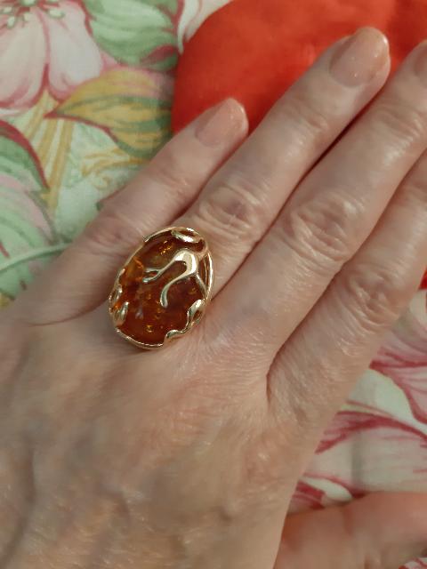 Кольцо с янтарем ⭐⭐⭐⭐⭐