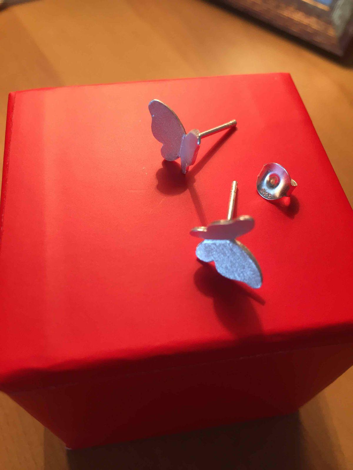 Серебрянные серьги бабочки